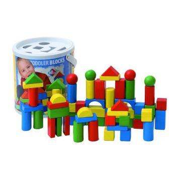 Woody Stavebnice kostky v kyblíku s prostrkávacím víkem, barevné, 60 dílů