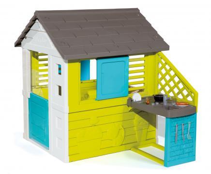 Domeček Pretty modrozelený s kuchyňkou