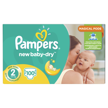 Pampers New Baby-Dry Vel. 2, 100 Plenek