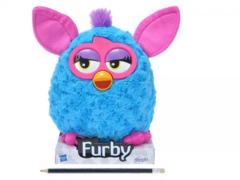 Furby plyš modro-růžový 20cm na podstavci