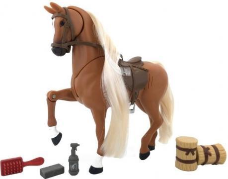 Kůň set 18 cm, na baterie - 3 x knoflíková, zvukové efekty,více druhů - 2 druhy (hnědý, bílo-černý).