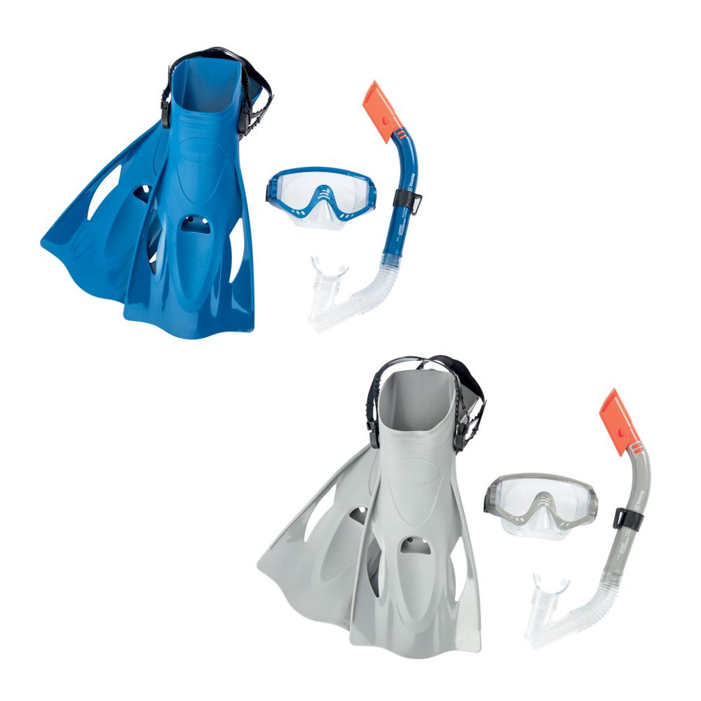 Šnorchlovací set MERIDIAN- ploutve, brýle, šnorchl (šedý/modrý)