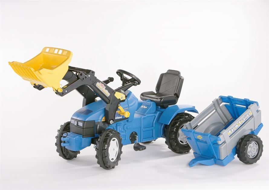 Šlapací traktor Farmtrac modrý s nakladačem a vlekem