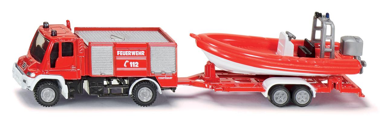 SIKU Blister - požární vozidlo Unimog s člunem