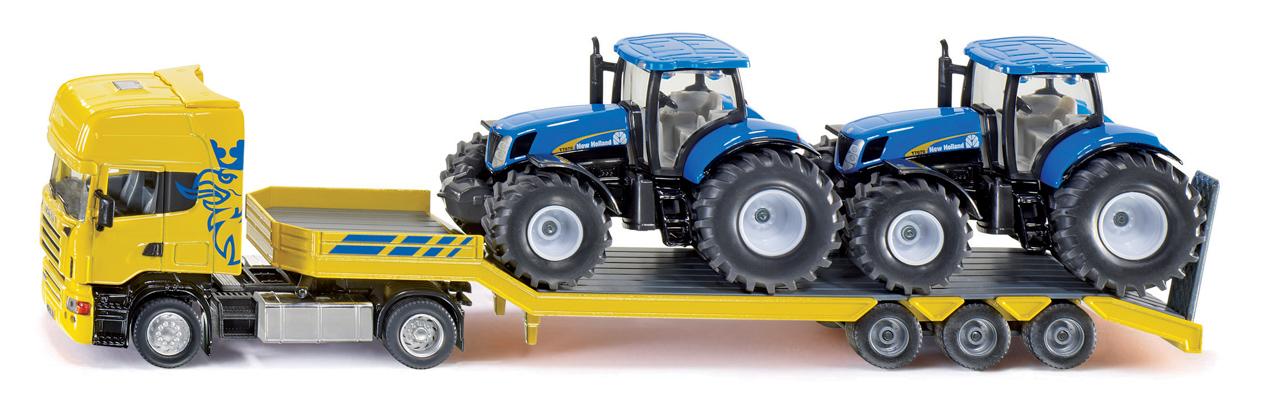 SIKU Farmer - Scania s přívěsem a 2 traktory New Holland T7070, 1:50