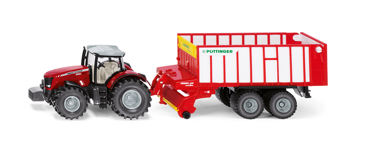 SIKU Farmer - traktor Massey FErguson s Jumbo přívěsem, 1:50