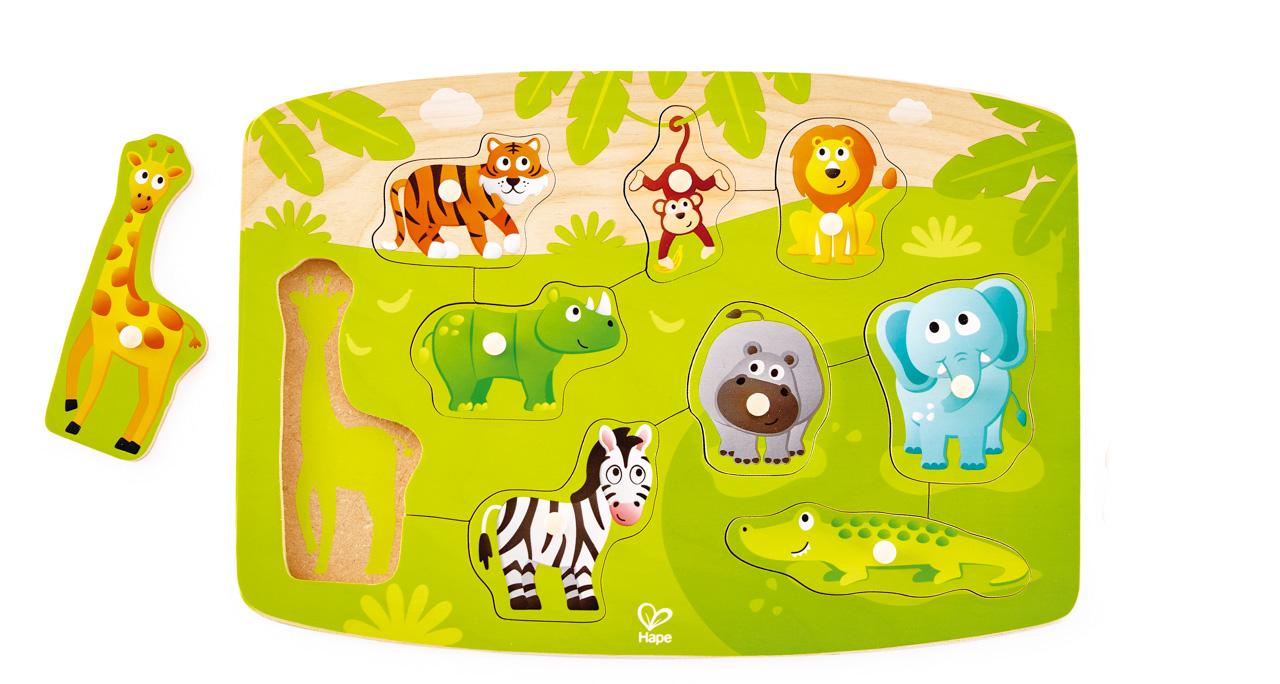 Puzzle na desce - Džungle