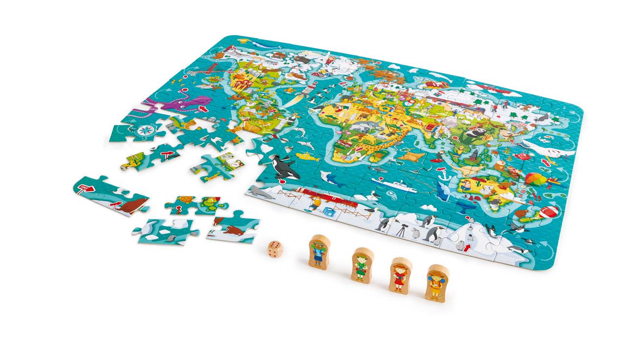 Dětské puzzle - Mapa světa 2 v 1