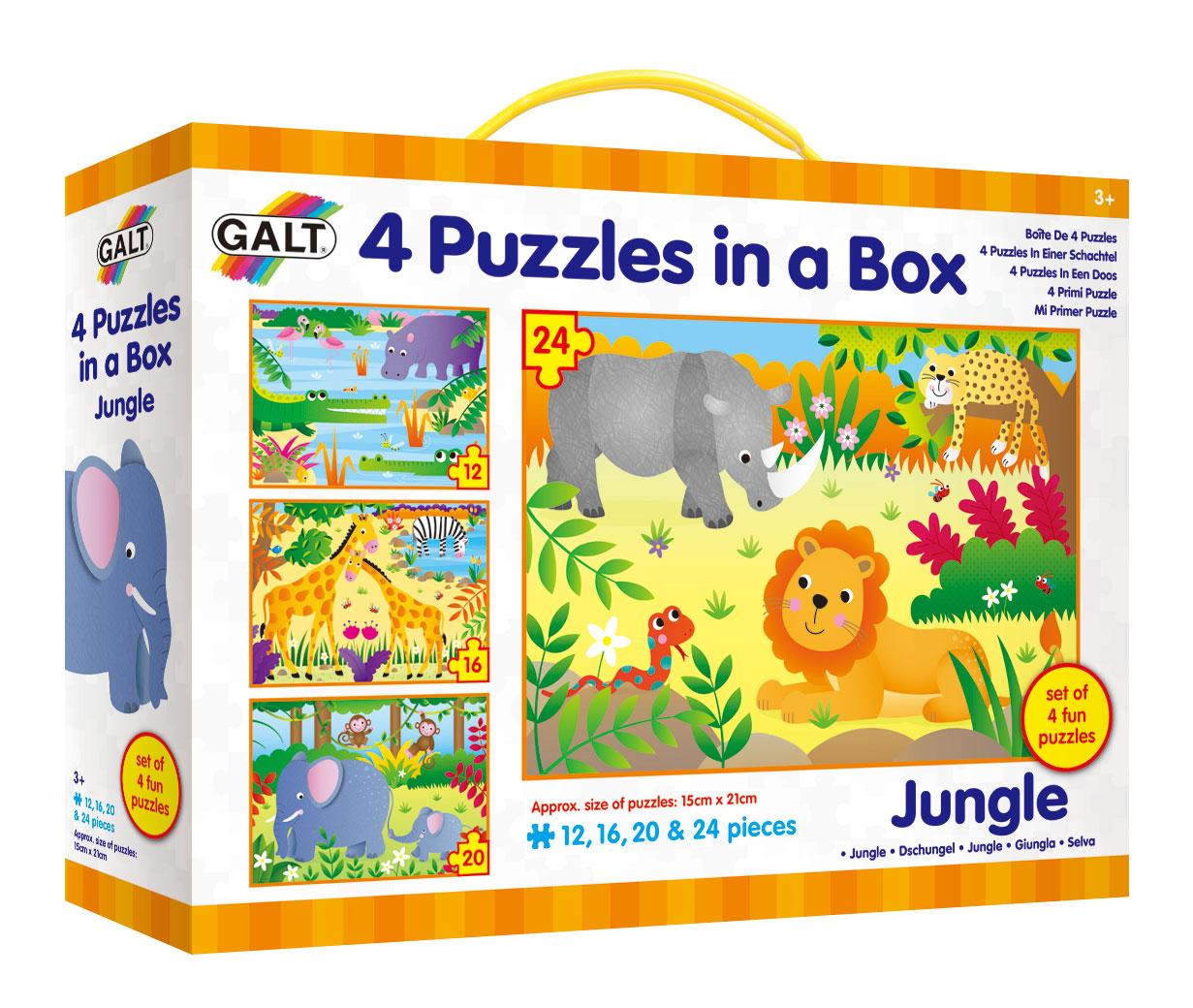 4 puzzle v krabici - Džungle